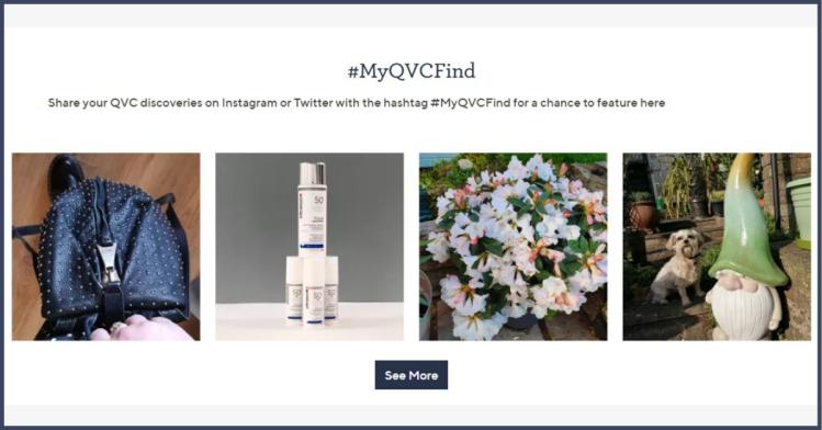 Screenshot of #MyQVCFind carousel from qvcuk.com